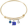 Duke Blue Devils Gold Expandable Wire Bangle Charm Bracelet