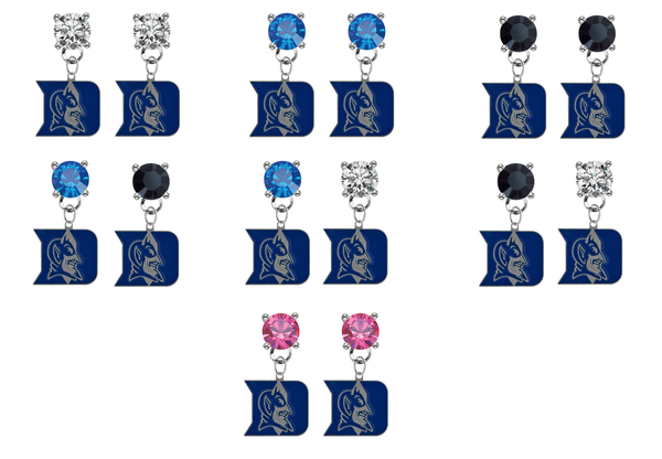 Duke Blue Devils NCAA Swarovski Crystal Stud Rhinestone Earrings