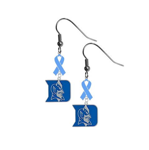 Duke Blue Devils Prostate Cancer Awareness Light Blue Ribbon Dangle Earrings