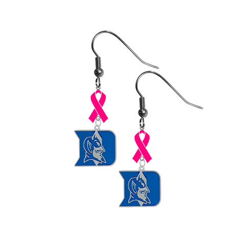 Duke Blue Devils Breast Cancer Awareness Hot Pink Ribbon Dangle Earrings
