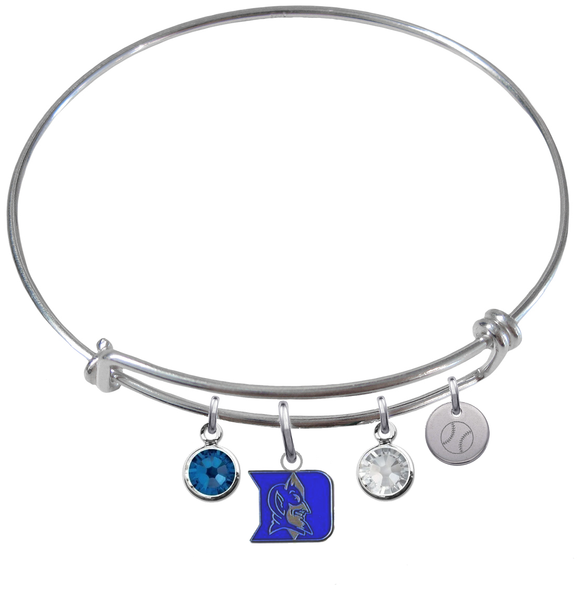 Duke Blue Devils Baseball Expandable Wire Bangle Charm Bracelet