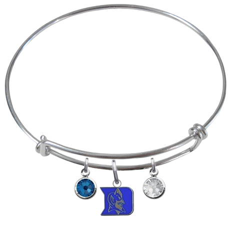 Duke Blue Devils NCAA Expandable Wire Bangle Charm Bracelet