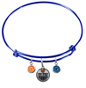 Edmonton Oilers Color Edition BLUE Expandable Wire Bangle Charm Bracelet