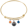 Edmonton Oilers Color Edition GOLD Expandable Wire Bangle Charm Bracelet