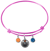 Edmonton Oilers Color Edition PINK Expandable Wire Bangle Charm Bracelet