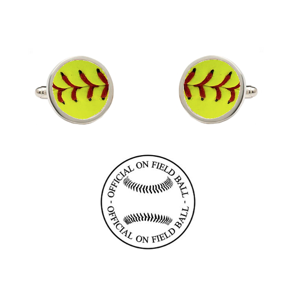 West Virginia Mountaineers Authentic On Field NCAA Fastpitch Softball Game Ball Cufflinks