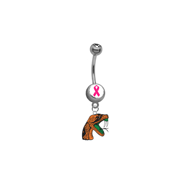 Florida A&M Rattlers Breast Cancer Awareness Belly Button Navel Ring