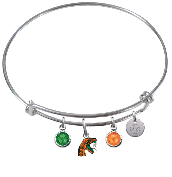 Florida A&M Rattlers Baseball Expandable Wire Bangle Charm Bracelet