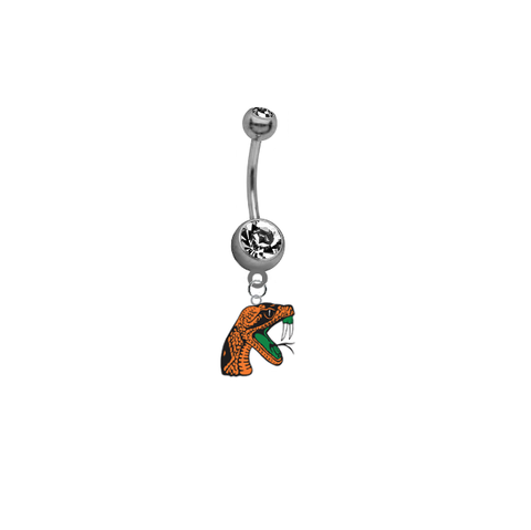 Florida A&M Rattlers SILVER College Belly Button Navel Ring