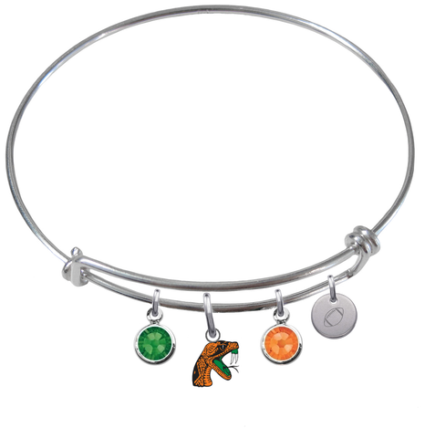 Florida A&M Rattlers Football Expandable Wire Bangle Charm Bracelet