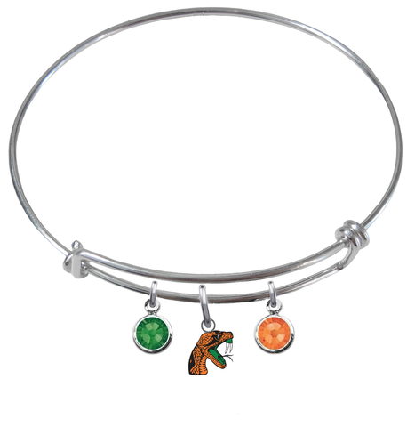 Florida A&M Rattlers NCAA Expandable Wire Bangle Charm Bracelet