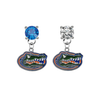 Florida Gators BLUE & CLEAR Swarovski Crystal Stud Rhinestone Earrings