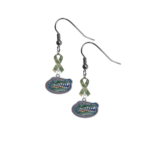 Florida Gators Salute to Service Camouflage Camo Ribbon Dangle Earrings
