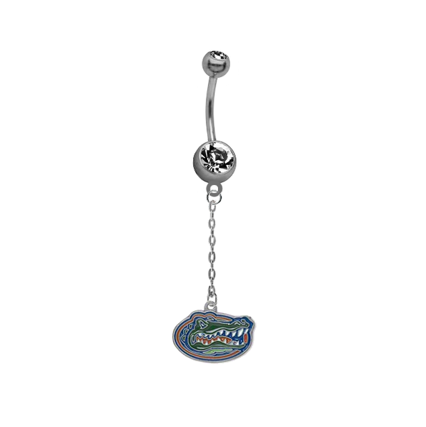 Florida Gators Dangle Chain Belly Button Navel Ring