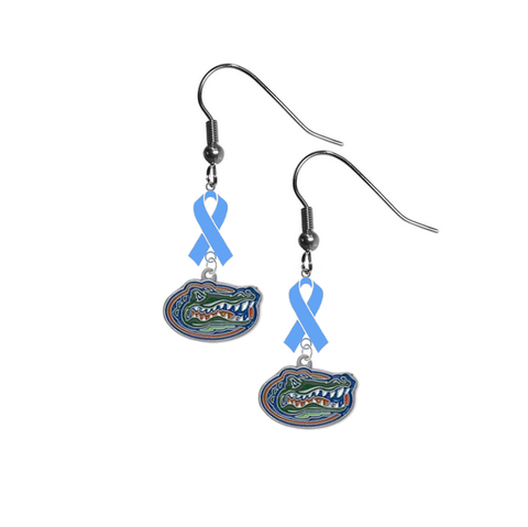 Florida Gators Prostate Cancer Awareness Light Blue Ribbon Dangle Earrings