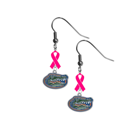 Florida Gators Breast Cancer Awareness Hot Pink Ribbon Dangle Earrings