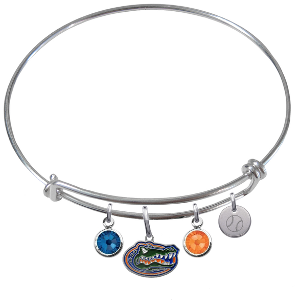 Florida Gators Baseball Expandable Wire Bangle Charm Bracelet