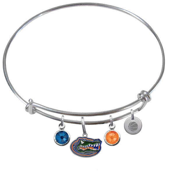Florida Gators Basketball Expandable Wire Bangle Charm Bracelet