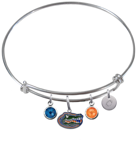 Florida Gators Football Expandable Wire Bangle Charm Bracelet