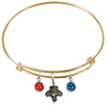 Florida Panthers Color Edition GOLD Expandable Wire Bangle Charm Bracelet