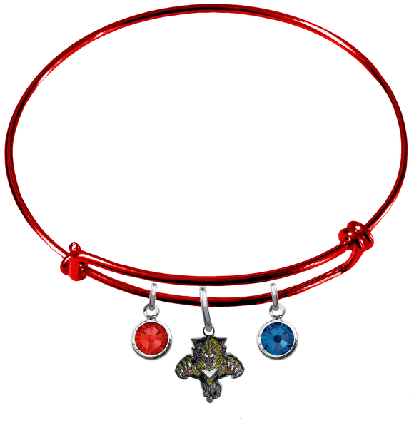 Florida Panthers Color Edition RED Expandable Wire Bangle Charm Bracelet
