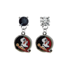 Florida State Seminoles BLACK & CLEAR Swarovski Crystal Stud Rhinestone Earrings