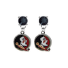 Florida State Seminoles BLACK Swarovski Crystal Stud Rhinestone Earrings