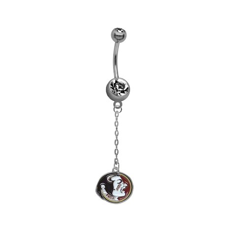 Florida State Seminoles Dangle Chain Belly Button Navel Ring