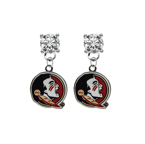 Florida State Seminoles CLEAR Swarovski Crystal Stud Rhinestone Earrings