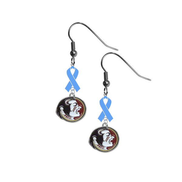 Florida State Seminoles Prostate Cancer Awareness Light Blue Ribbon Dangle Earrings