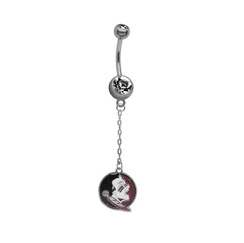 Florida State Seminoles New Logo Dangle Chain Belly Button Navel Ring