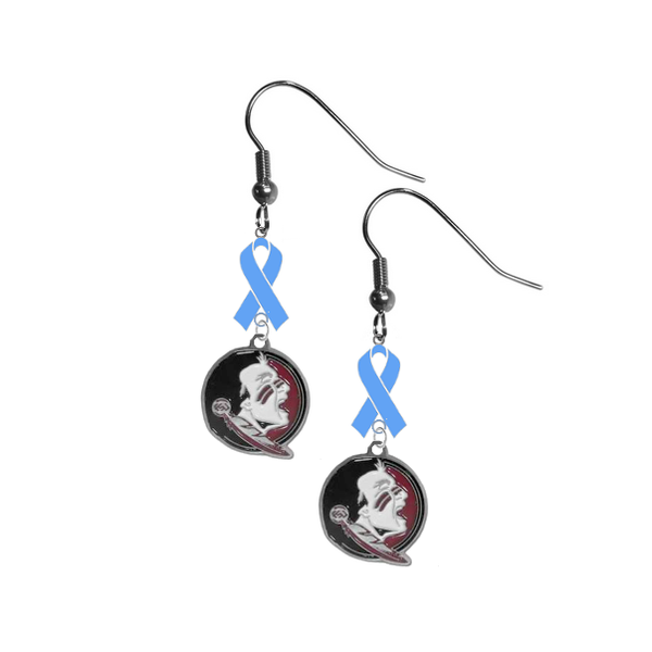 Florida State Seminoles New Logo Prostate Cancer Awareness Light Blue Ribbon Dangle Earrings