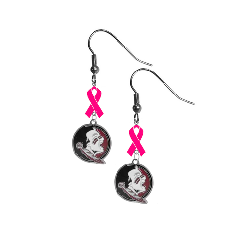 Florida State Seminoles New Logo Breast Cancer Awareness Hot Pink Ribbon Dangle Earrings