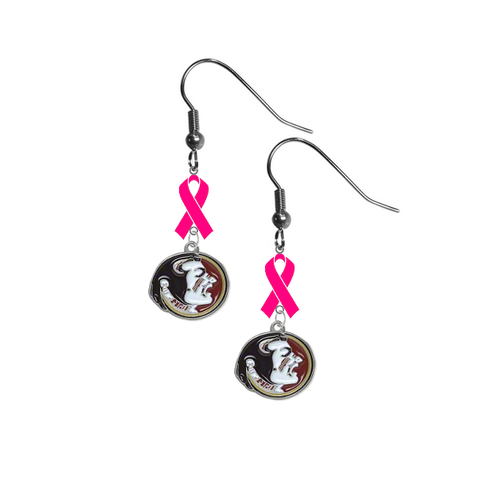 Florida State Seminoles Breast Cancer Awareness Hot Pink Ribbon Dangle Earrings