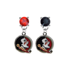 Florida State Seminoles RED & BLACK Swarovski Crystal Stud Rhinestone Earrings
