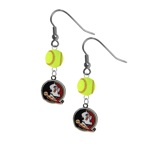 Florida State Seminoles FSU NCAA Fastpitch Softball Dangle Earrings