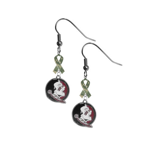 Florida State Seminoles New Logo Salute to Service Camouflage Camo Ribbon Dangle Earrings
