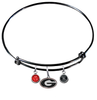 Georgia Bulldogs NCAA Black Expandable Wire Bangle Charm Bracelet