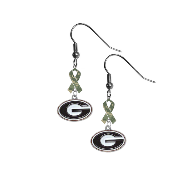Georgia Bulldogs Salute to Service Camouflage Camo Ribbon Dangle Earrings