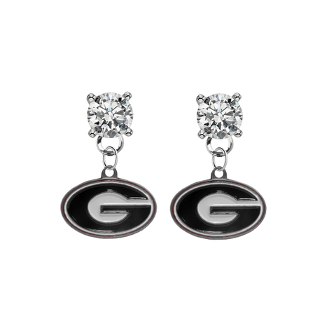 Georgia Bulldogs CLEAR Swarovski Crystal Stud Rhinestone Earrings
