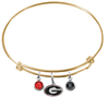 Georgia Bulldogs NCAA Gold Expandable Wire Bangle Charm Bracelet