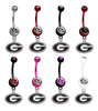 Georgia Bulldogs NCAA College Belly Button Navel Ring - Pick Your Color