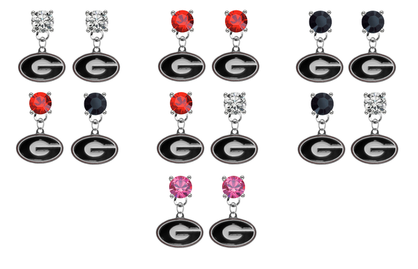 Georgia Bulldogs NCAA Swarovski Crystal Stud Rhinestone Earrings