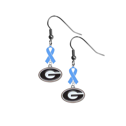 Georgia Bulldogs Prostate Cancer Awareness Light Blue Ribbon Dangle Earrings