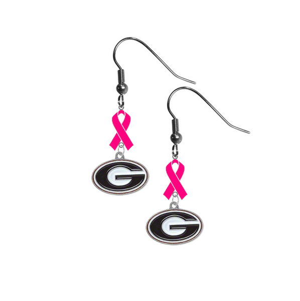 Georgia Bulldogs Breast Cancer Awareness Hot Pink Ribbon Dangle Earrings