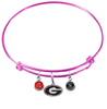 Georgia Bulldogs NCAA Pink Expandable Wire Bangle Charm Bracelet