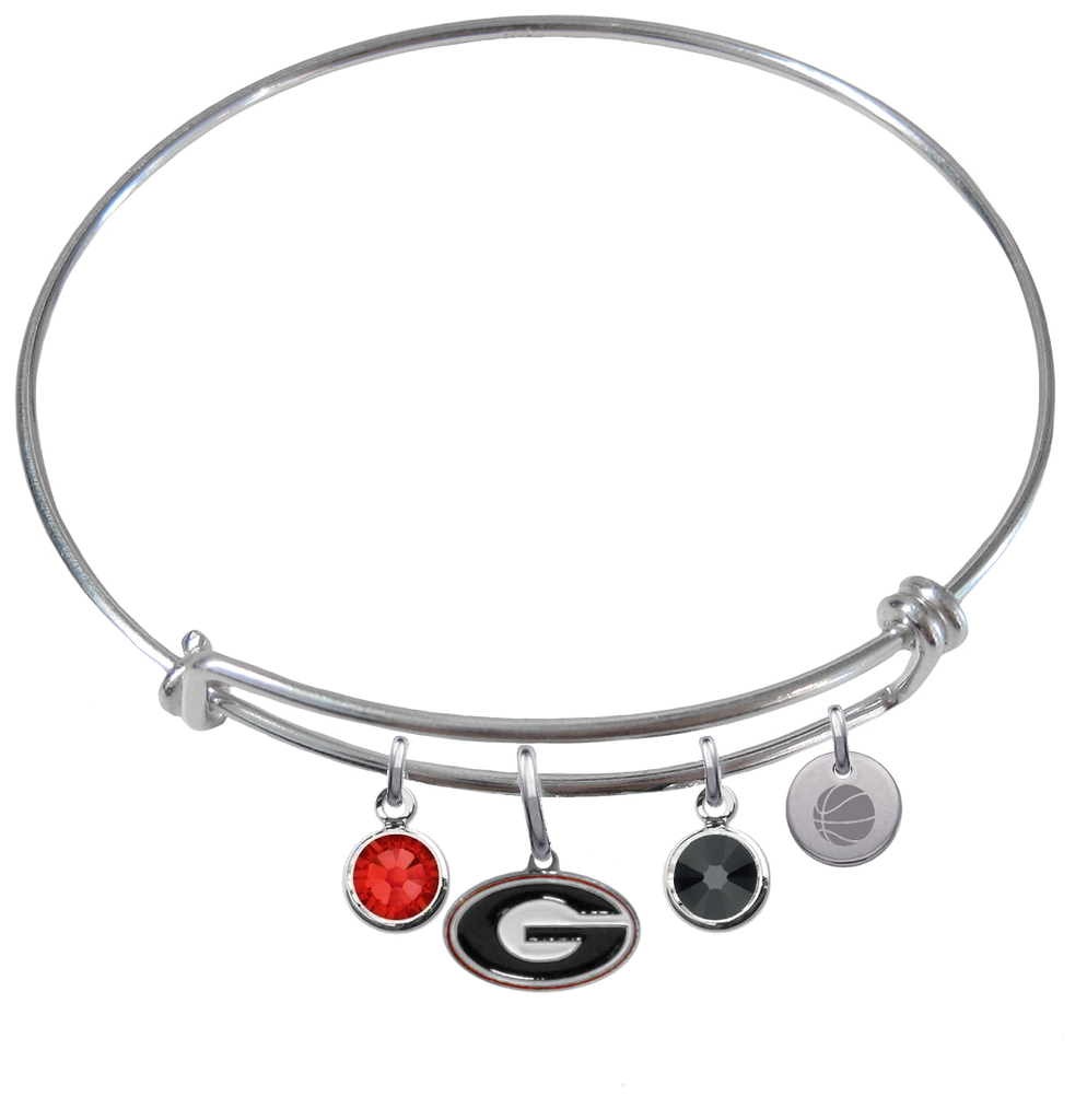 Georgia Bulldogs Basketball Expandable Wire Bangle Charm Bracelet