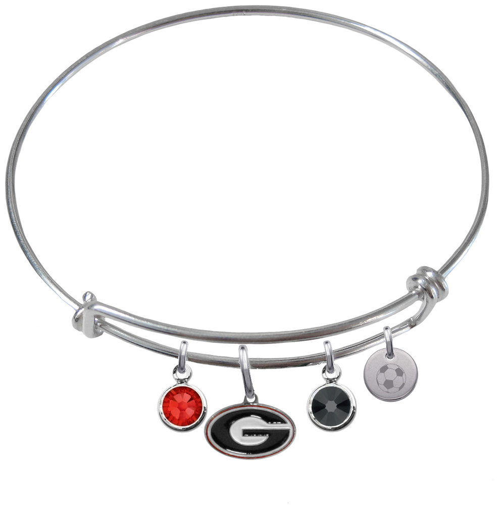 Georgia Bulldogs Soccer Expandable Wire Bangle Charm Bracelet
