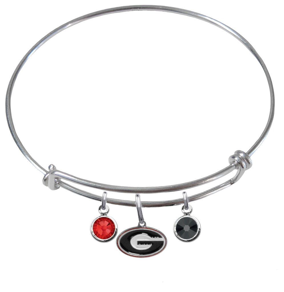 Georgia Bulldogs NCAA Expandable Wire Bangle Charm Bracelet