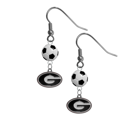 Georgia Bulldogs NCAA Soccer Dangle Earrings